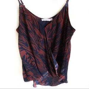 Lush Navy/ Deep Red Leaf Cross Over Style Tank S